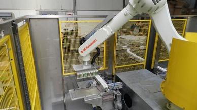 Roboter im Verpackungsprozess, Kawasaki