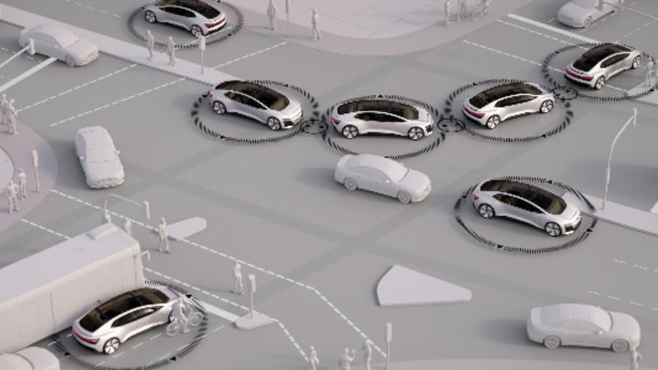 Simulation des künftigen Verkehrs im Verkehrsmix. Mit nur 20 Prozent autonomen Autoskönnten fünf Prozent mehr Menschen zehn Prozent schneller ans Ziel kommen.