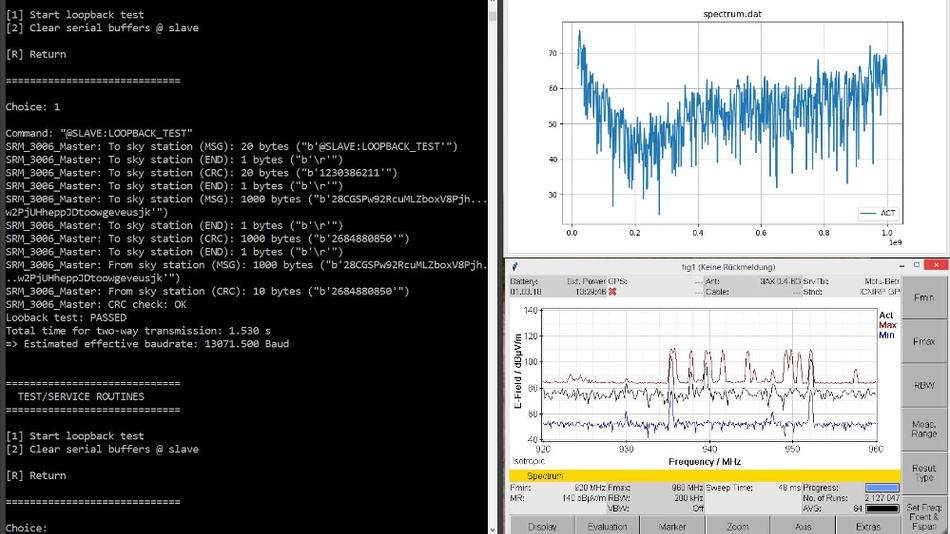 Bild 3. Fernzugriff auf ein EFM-Messsystem (SRM 3006) in einer Drohne: Kommandofenster (links), aktuelles Signal (rechts oben) und Live-Screenshot vom Messgerät (rechts unten)(Bild: IMST)