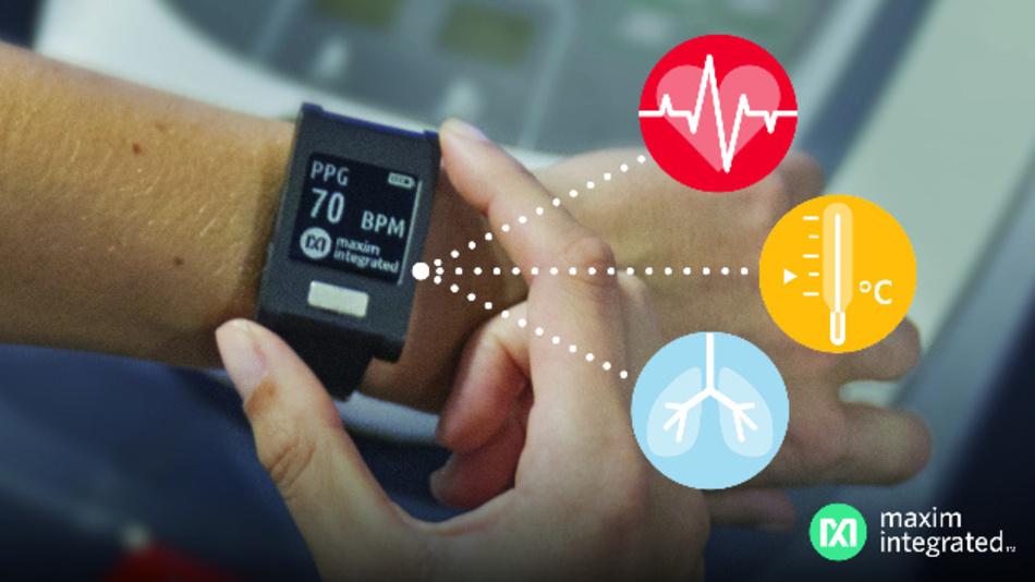 Die medizinische Sensor Plattform HSP 2.0 von Maxim misst EKG, Puls und Temperatur.