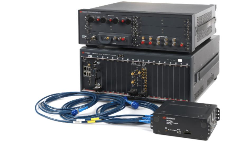 5G-Testplattform S9100A von Keysight mit Remote Transceiver (unten rects) zur mmWellen-Signalerzeugung.