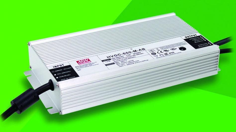 Bild 1: Die LED-Stromversorgung HVGC-650 von Mean Well eignet sich für Eingangsspannungen von 90V bis 528V.