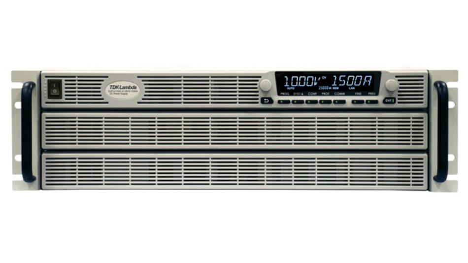 In Zukunft stehen die Labornetzteile der Genesys+-Baureihe mit Einschüben von 1,7 bis 15kW zur Verfügung.  Das Spektrum der Ausgangsspannungen erhöht sich auf bis zu 1200V, die Ausgangsströme reichen in Zukunft 8,5 bis 2000A.