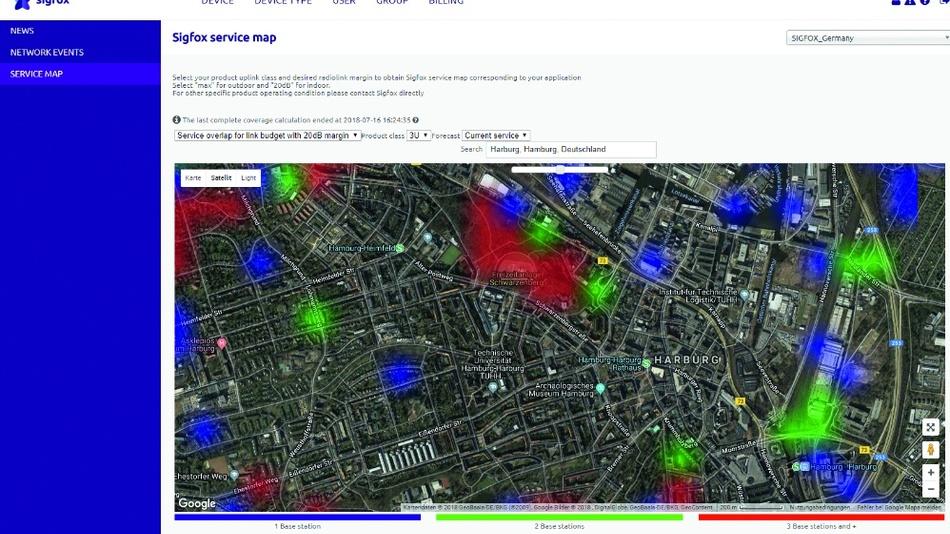 Bild 1: Die Sigfox-Coverage-Karte für den Süden von Hamburg weist mehrere Empfangsinseln aus.