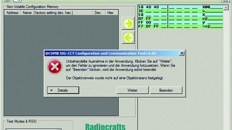 Bild 5: Die Module der Firma Radiocrafts lassen sich mit der dafür vorgesehenen Software (SIG-CCT) nicht betreiben.