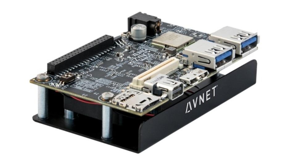 Ultra96-Board von Avnet, Xilinx und 96boards, im Vertrieb von Farnell.