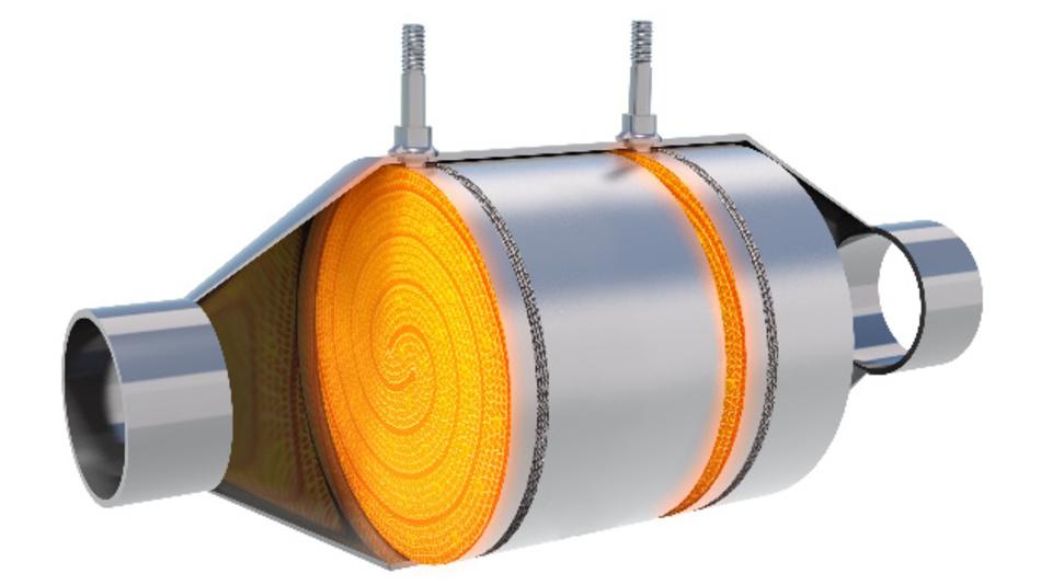 Der Dual Electrical Heatabel Catalyst von Continental: Durch Integration von zwei elektrischen Heizscheiben erreicht der Katalysator in wenigen Sekunden die erforderliche Temperatur für eine wirksame Schadstoff-Konvertierung.