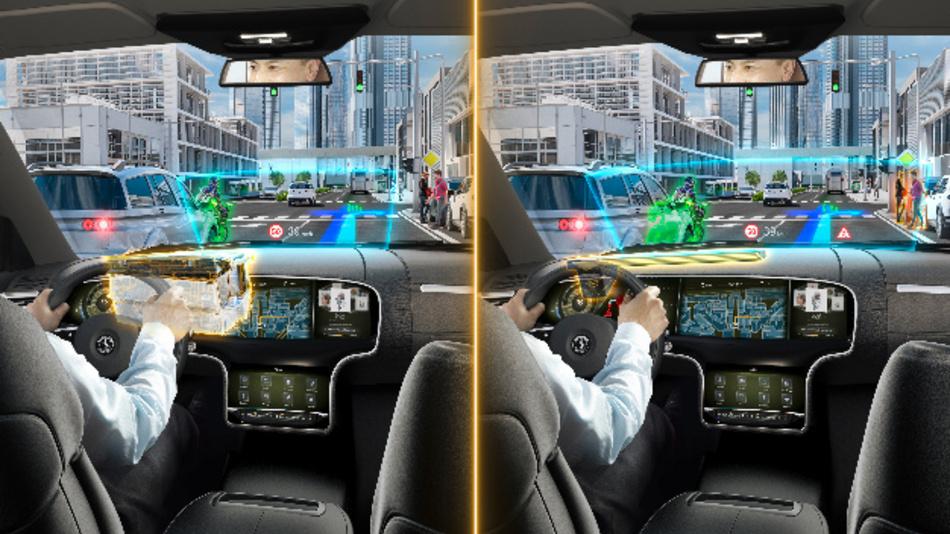 Gegenüberstellung von Größe und Augmentierungsbereich der beiden AR Head-up-Displays: HUD mit konventioneller Spiegeltechnik (links) und HUD mit Wellenleitertechnik (rechts).