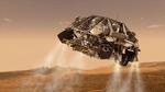Der Mars-Rover hat seinen Hitzeschild abgeworfen und wurde durch den  Fallschirm stark verlangsamt. »Umgekehrte« Schubraketen stabilisieren  Curiositiy während der Abstiegsphase.