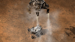 Mit Hilfe des Himmelkrans wird der Rover auf den Marsboden herabgelassen. Für das »übliche« Landemanöver mit Airbags war Curiosity einfach zu schwer.