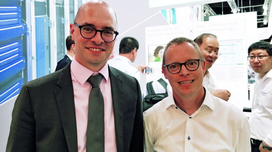 Unser Power-Spezialist Ralf Higgelke traf Dr. Steffen Metzger (links), Senior Director High Voltage Conversion bei Infineon, auf der PCIM Europe 2018.