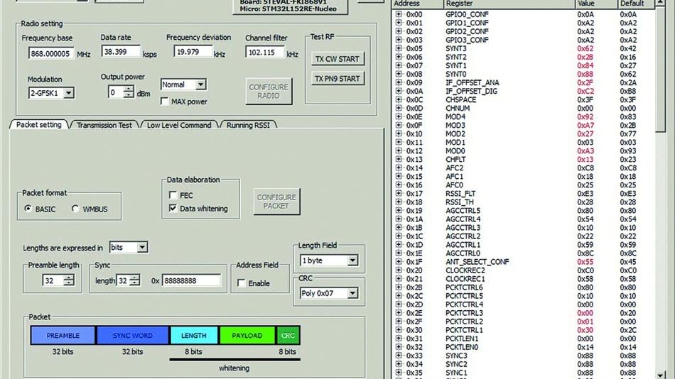 Bild 4: Die Kommunikation mit dem Board mithilfe der S2-LP DK Applikation.