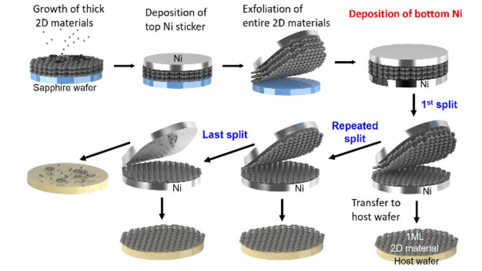 Schematische Darstellung der atomaren Manipulation von 2D-Materialien, bei der dickes 2D-Ausgangsmaterial im Wafermaßstab in einzelne Monoschichten aufgeteilt wird.