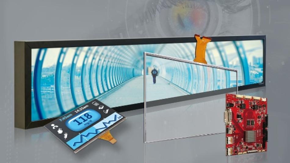 Am Stand von Data Modul erwarten die Besucher Displays in unterschiedlichen Größen, Formen und Technologien.