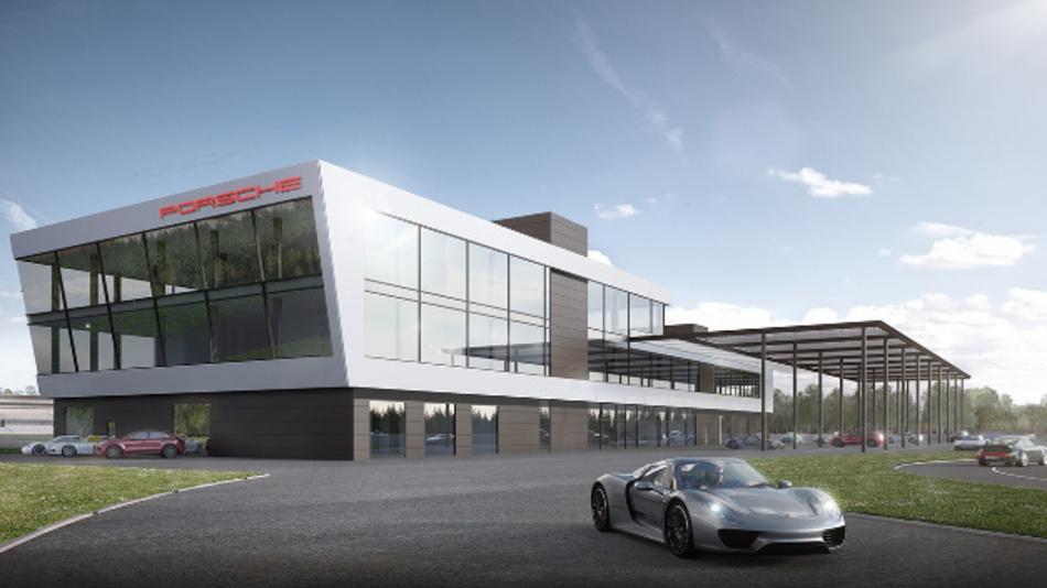 Visualisierung des Zentralgebäudes des Porsche Experience Centers Hockenheimring.