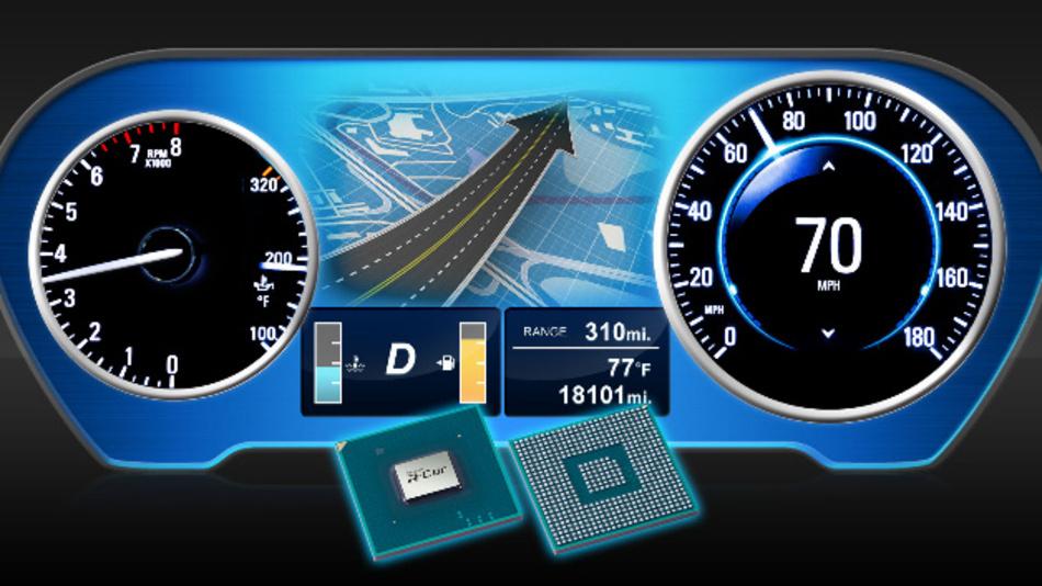 Das R-Car E3 System-on-Chip von Renesas ermöglicht 3D-Grafiken auf großen Displays.