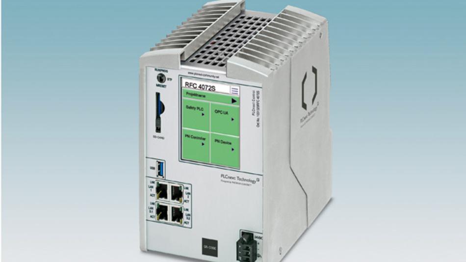 Bild 1:  Der RFC 4072 S bildet die High-End-Leistungsstufe  der Steuerungsserien auf Basis der PLCnext Technology