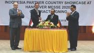 Unterzeichnung des Partnerlandvertrages zwischen der Deutschen Messe und Indonesien