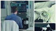 »HandsOn.surgery«-Trainer: virtueller Knochen mit Risikostrukturen und Fräse (rechts oben).