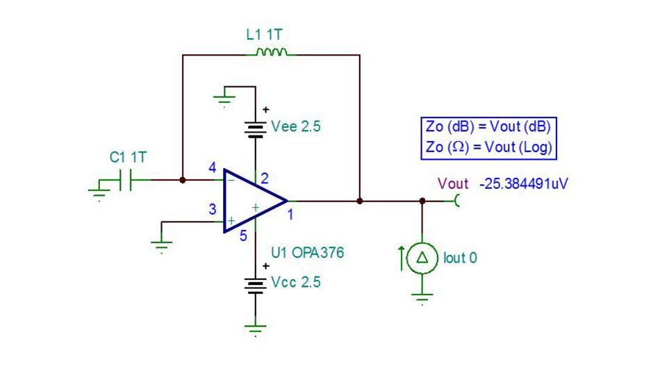 Bild 5. Zur Messung der Leerlauf-Ausgangsimpedanz ZA0 in SPICE muss der Operationsverstärker so beschaltet werden, dass die DC-Analyse den Operationsverstärker nicht in die Sättigung steuert.