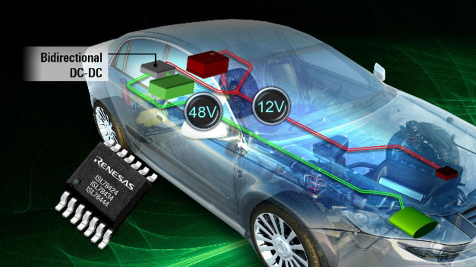 Die Halbbrücken-Treiber ISL784x4 von Renesas ermöglichen eine effiziente Ansteuerung von bidirektionalen 12 V/48 V-Wandlern in Mild-Hybridfahrzeugen.