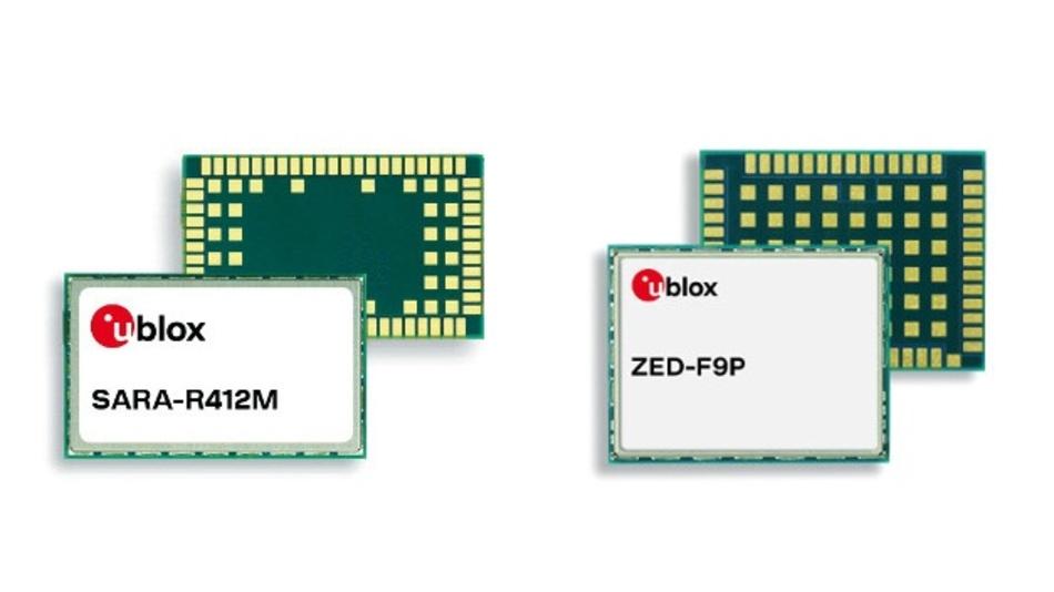 Sara-R412M ist ein LTE-Cat.-M1/NB1-Modul mit GSM/GPRS-Fallback; Der Multi-Band-GNSS-Receiver ZED-F9P erreicht sehr kurze RTK-Konvergenzzeiten.