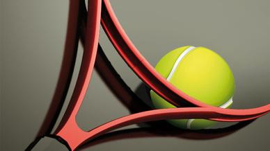 Rahmen Tennisschläger und Tennisball