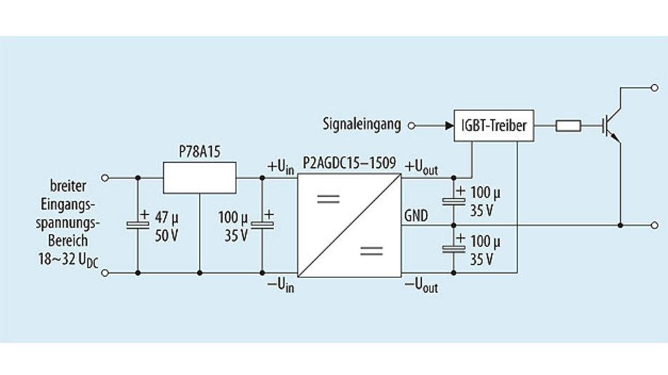 Bild 2. Applikationsschaltung eines DC/DC-Wandlers zum Versorgen von IGBT-Treiberschaltungen.