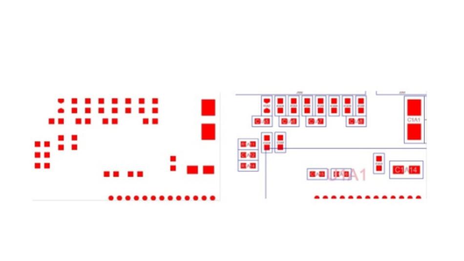 Bild 3: In Gerber-Daten (links)  ist nicht klar, welche Lötpads zusammengehören. Wer die Produktion von Schablonen vorbereitet, braucht aber diese Information. In ODB++ oder IPC2581 (rechts) ist diese Information enthalten und der Prozess der Aufbereitung kann komplett automatisiert werden.