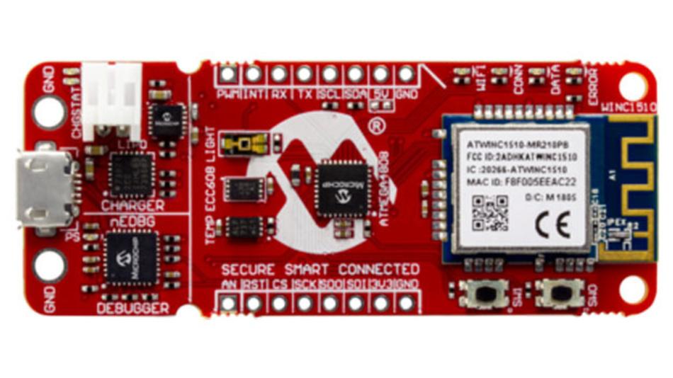 Entwicklungsmodul mit 8-bit Mikrocontroller für IoT-Applikationen mit der Google Cloud.