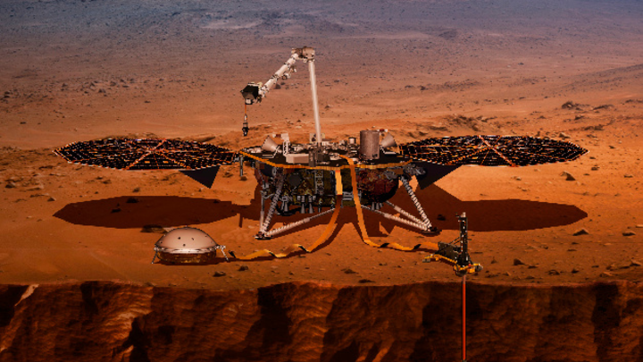 Computer-Visualisierung des Landers InSight, der auf dem Mars eine Probebohrung durchnimmt.