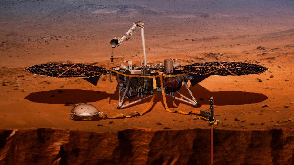 Die Computer-Visualisierung der Nasa zeigt den Lander InSight, der auf dem Mars eine Probebohrung durchnimmt.