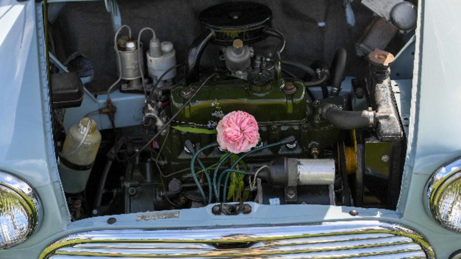 Motorraum eines BMW Mini Cooper während der »24. Mini Nationals Show and Shine«.