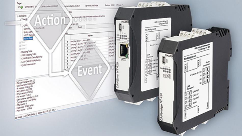 013: Die CAN-Brigde CAN@net NT koppeln bis zu vier CAN- und/oder CAN-FD- Systeme. Über ein Windows-Tool können Filter-, ID-Übersetzungs-, Daten-Mapping- und Multiplex-Funktionen konfiguriert werden. Obendrein gibt es eine Ethernet-Schnittstelle, über die bis zu vier CAN@net NTs gekoppelt oder als Gateway eingesetzt werden können. Über das MQTT-Protokoll können Daten in die Cloud gesendet werden und auf eingehende Daten reagiert das Gateway mit konfigurierbaren Aktionen
