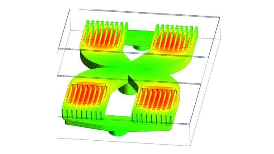 Bild 10: Simulation einer Halbbrücke mit modifizierter Geometrie und Struktur.
