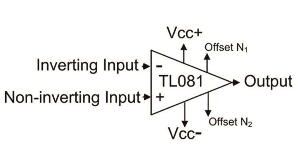 Bild 1: Schaltbild der Anschlüsse am Operationsverstärker TL081 von Texas Instruments.