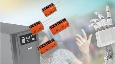 Die neuen Kondensatoren bieten eine Lebensdauer von 2000 Stunden bei +85°C und eine Nennspannung von 3 V .