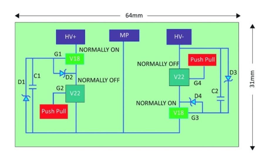 Bild 3: Blockschaltbild des 1200-V-Halbbrückenmoduls, das aus vier 650-V-GaN-Schaltern besteht.