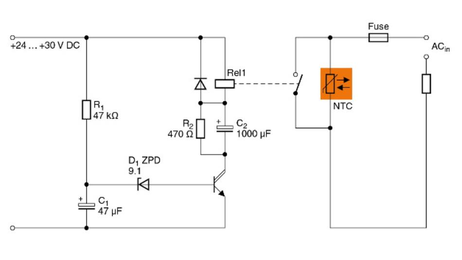 Bild 4: Zeitgesteuerte Überbrückungsschaltung für Einschaltstrombegrenzer.