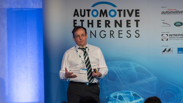 Ged Lancaster from Jaguar Land Rover presented the topic »System, Standards and Services - The Bermuda Triangle of Succesfull Projects« at the Automotive Ethernet Congress in 2018.
