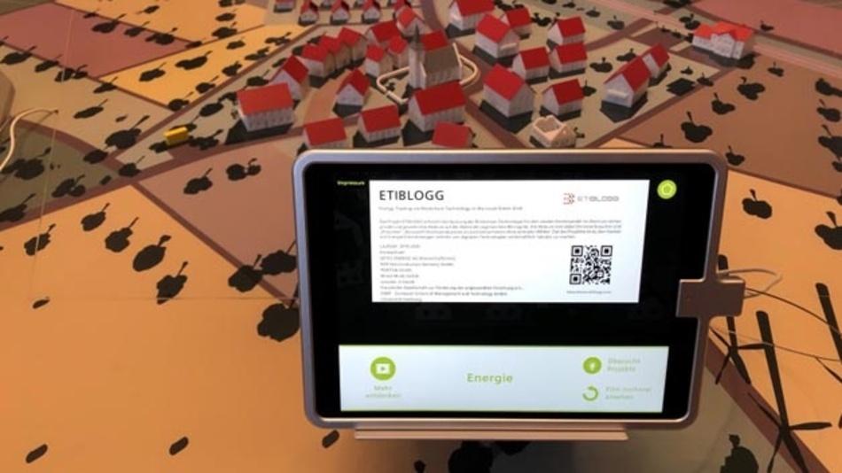 ETIBLOGG-Informationsdisplay auf dem Smart Service Summit in Berlin.