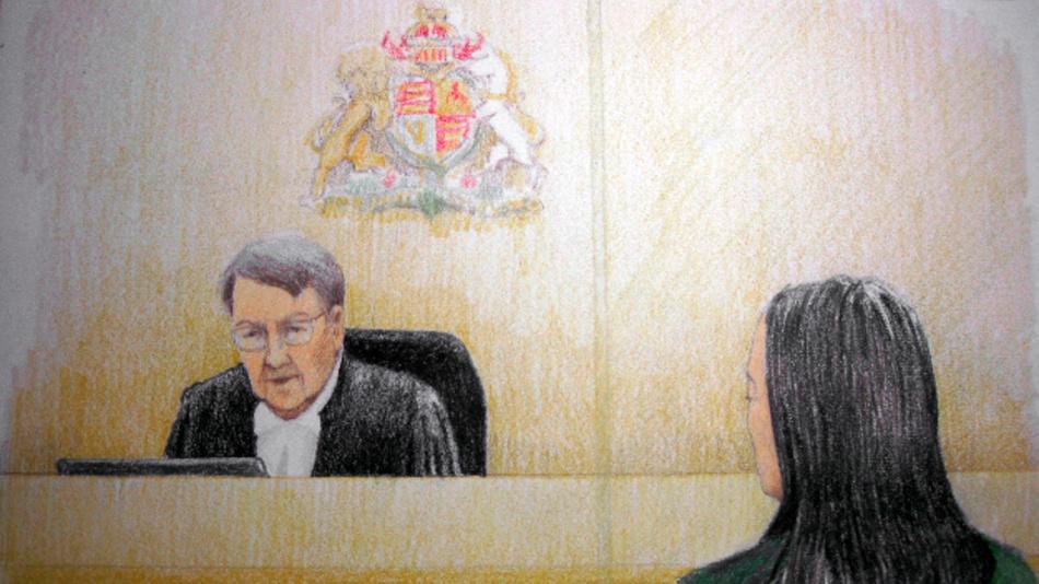 Die Gerichtszeichnung zeigt Meng Wanzhou (r), Finanzchefin des chinesischen Telekom-Konzerns Huawei, während einer Anhörung in Vancouver. Die in Kanada festgenommene Finanzchefin des chinesischen Telekom-Konzerns Huawei kommt vorerst gegen Kaution auf freien Fuß.