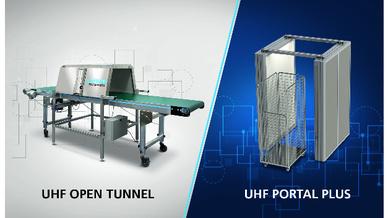 Das UHF Portal Plus (rechts) kombiniert die Leseleistung eines geschlossenen Kabinensystems mit der einfachen Funktionsweise eines Portals.