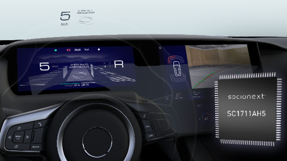 Socionext hat den Display-Controller SC1711 für den Betrieb von Head-Up-Displays optimiert.