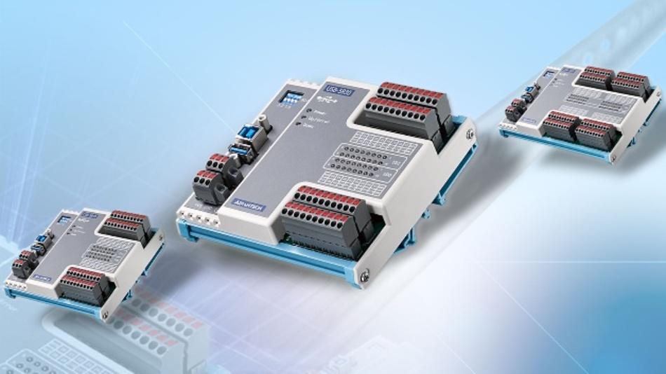 Mit einer USB-3.0-Schnittstelle ausgestattet sind die Datenerfassungsmodule der Serie USB-5800 von Advantech (Vertrieb: BMC Solutions). Die kompakten Abmessungen und die Hutschienenmontage der industriellen digitalen Ein-/Ausgangsmodule ermöglichen eine einfache Montage im Schaltschrank. Jedes Modul verfügt über einen eingebauten USB-Hub, der Daisy-Chain-Topologien unterstützt. Der Signalanschluss erfolgt über Euro-Steckklemmen, LED-Status-Anzeigen helfen dem Anwender bei der Wartung und Einrichtung seiner Anlage. Alle digitalen Ein- und Ausgangskanäle sind gegen 2500 VDC isoliert. Die Eingangsspannungen liegen im Bereich von 10 bis 30 VDC. Die digitalen Ausgänge können 5 bis 40 VDC schalten, die PhotoMOS-Relais erreichen 60 VAC/VDC bei 1,2 A. Zur Programmierung der Module gibt es zahlreiche Entwicklungstools für C#, C++, LabVIEW, VB.Net, MFC, BCB, VB6, Java, Delphi und Qt. Unterstützt werden zudem Windows XP/7/8/10 sowie Linux.