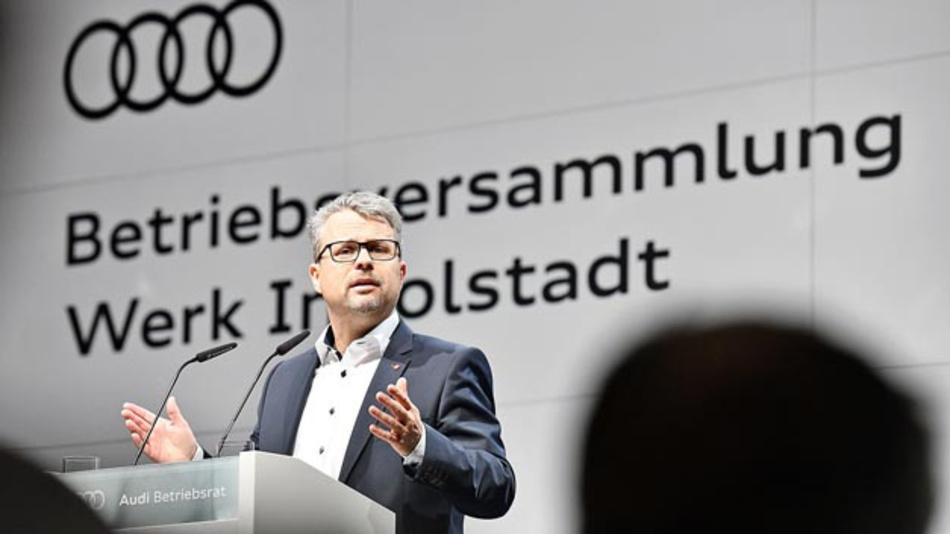 Durchgesetzt: Audi-Gesamtbetriebsratsvorsitzender Peter Mosch verkündet den Aufbau einer Batteriemontage für den Standort Ingolstadt.