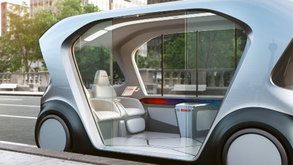 Das Shuttle-Konzeptfahrzeug von Bosch wird auf der CES 2019 in Las Vegas vorgestellt.