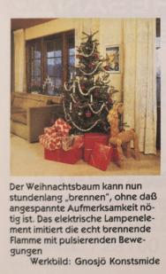 Weihnachtsbaum mit elektrische Beleuchtung.