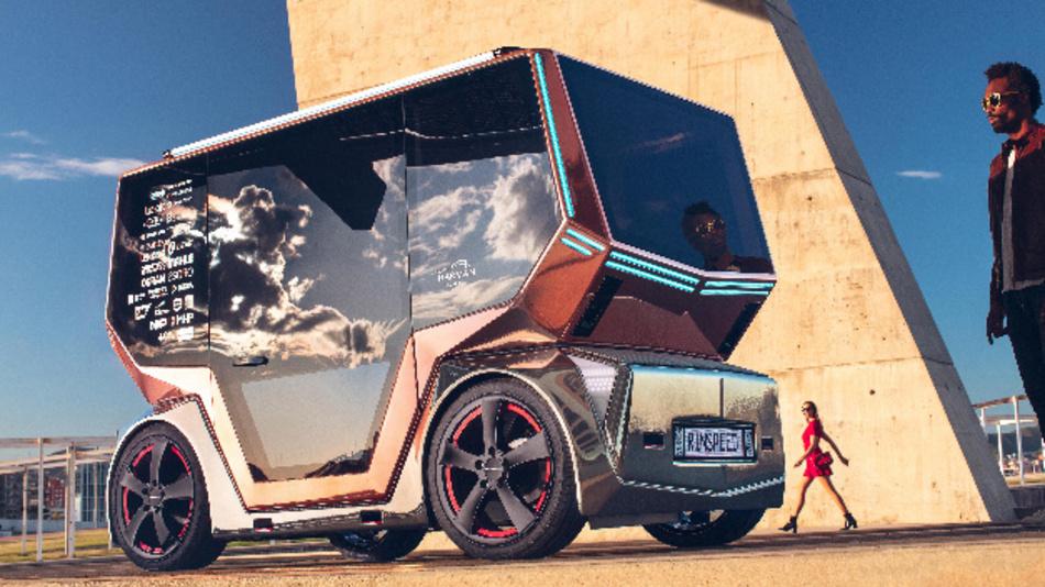 Das Konzeptfahrzeug »microSnap« von Rinspeed – hier als Personen-Shuttle.