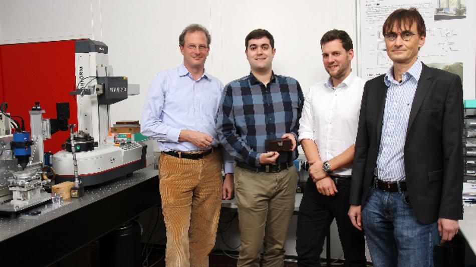 Das Team von Opti-Cal (v. l. n. r.): Prof. Dr. Georg von Freymann, Dr. Matthias Eifler, Julian Hering und Prof. Dr. Jörg Seewig.